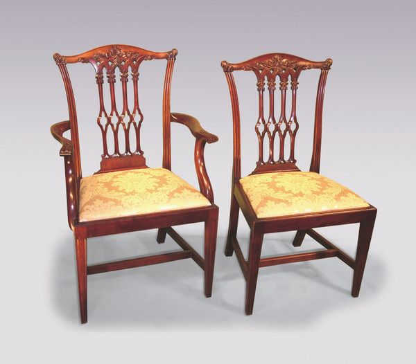 b456e59f93e26 A set of six plus two 19th century Chippendale style mahogany Dining chairs  having moulded