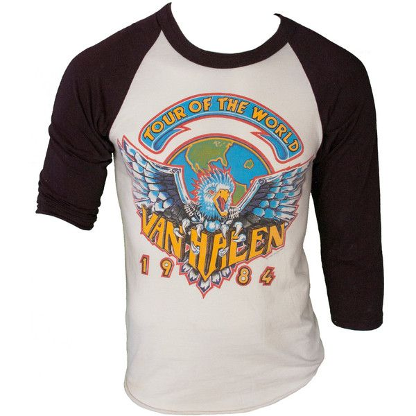 acce8d69 1980s Van Halen Band Tee T Shirt Baseball Tour of the World Black... (2,300  MXN) ❤ liked on Polyvore featuring tops, t-shirts, baseball t shirt, cut  off t ...