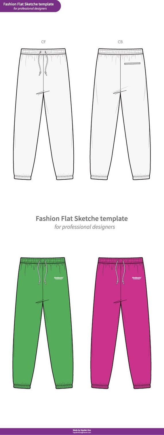Sweat Pants Fashion Flat Technical Drawing Vector Template With