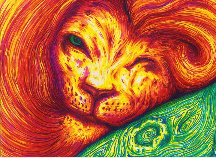 El Leon - tre vo - Paintings & Prints Animals Birds & Fish Wild… | ArtPal thumbnail
