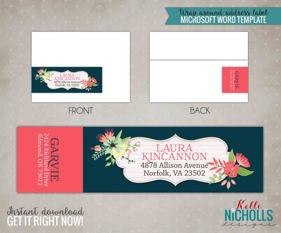 Floral Bloom Wrap Around Return Address Label Template - Instant