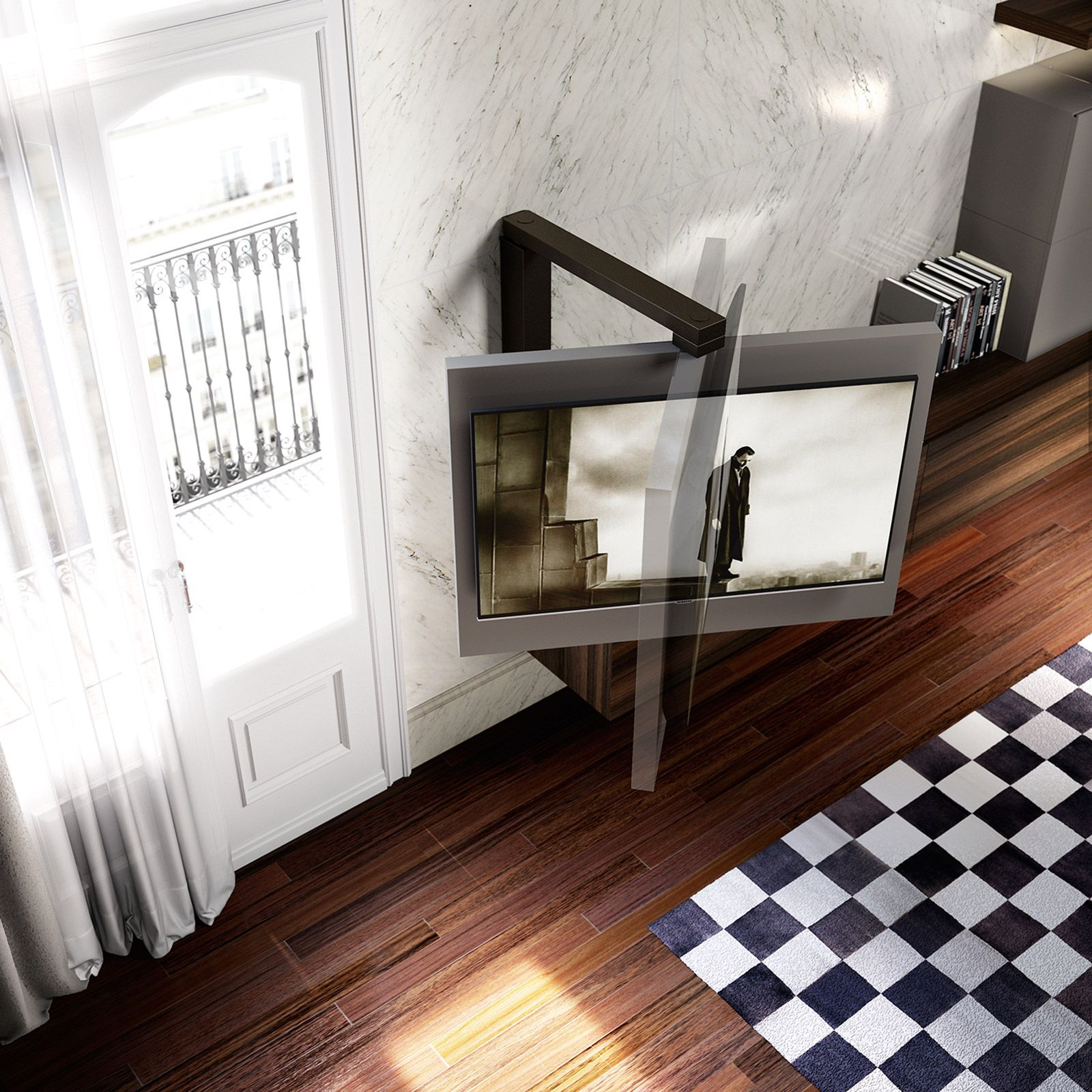 Porta Tv Orientabile Girevole Full 360 Dettaglio Prodotto  # Meuble Tv Techno