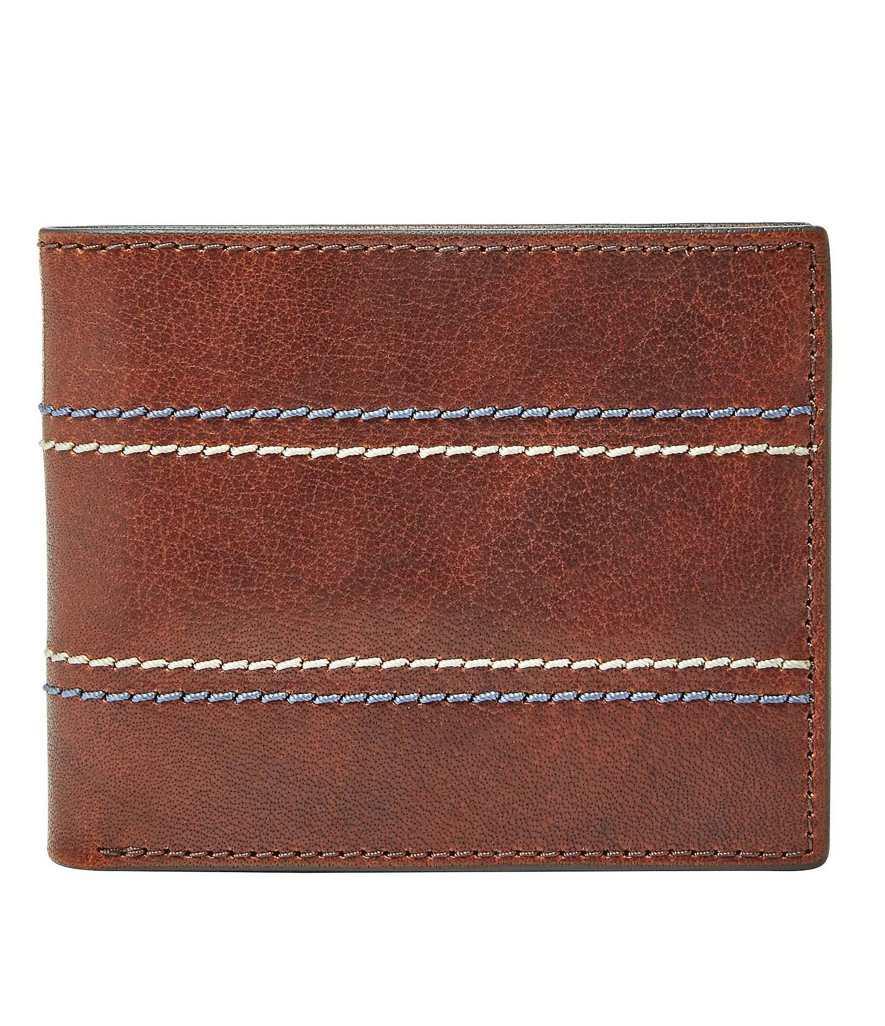 "From Fossil, this bifold flip ID wallet features:interior pockets: 8 credit card slots1 billfold pocket2 slide pockets2 ID windowsRFID-blocking liningleathersize: 4.25""' L x 3.50""""W x 0.6""""HImported."