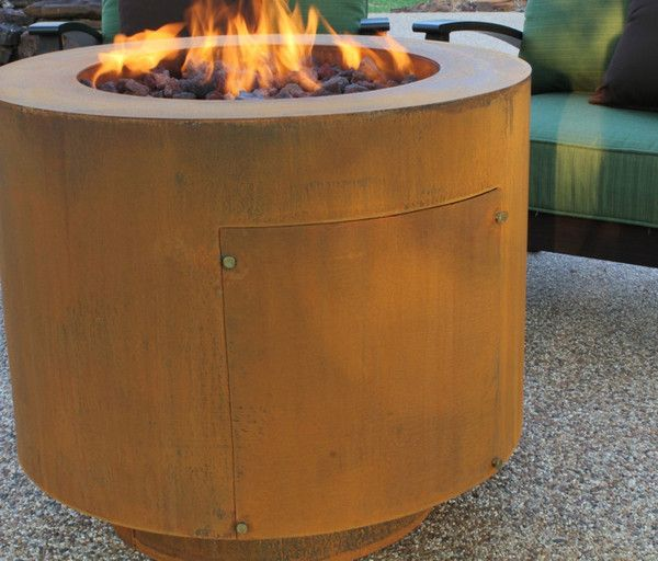Round Steel Hidden Propane Tank Fire Pit Steel Fire Pit Round