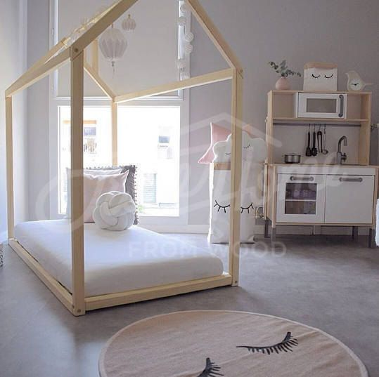 Kids Bedroom House montessori house bed crib size, floor bed, baby bed, wooden house