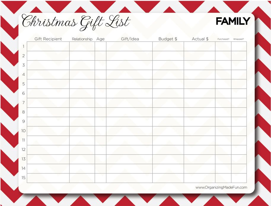 Having An Organized Christmas A Great List For Gifts Prices