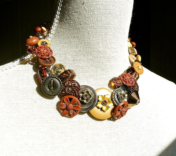 Statement Necklace Vintage Button Jewelry by Dabchick Vintage Gems