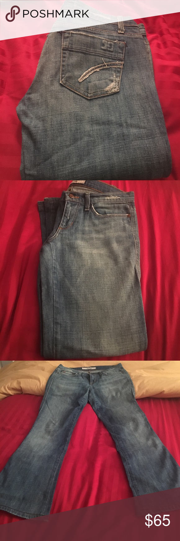 Joe's Jeans Size 28 (equivalent of a US size 4-6). Stetchy, boot cut jeans. Super comfortable. Excellent condition. Only signs of wear is the distressed look around the pockets and waist line which was part of  the manufacturer's design Joe's Jeans Jeans Boot Cut