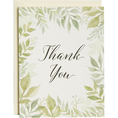 This thank you note set features a beautiful and whimsical hand-painted watercolor garden border. Blank inside.<br><br>10 - 4.5 x 5.5 A2 folded cards<br>10 - 4.375 x 5.75 A2 soft white envelopes