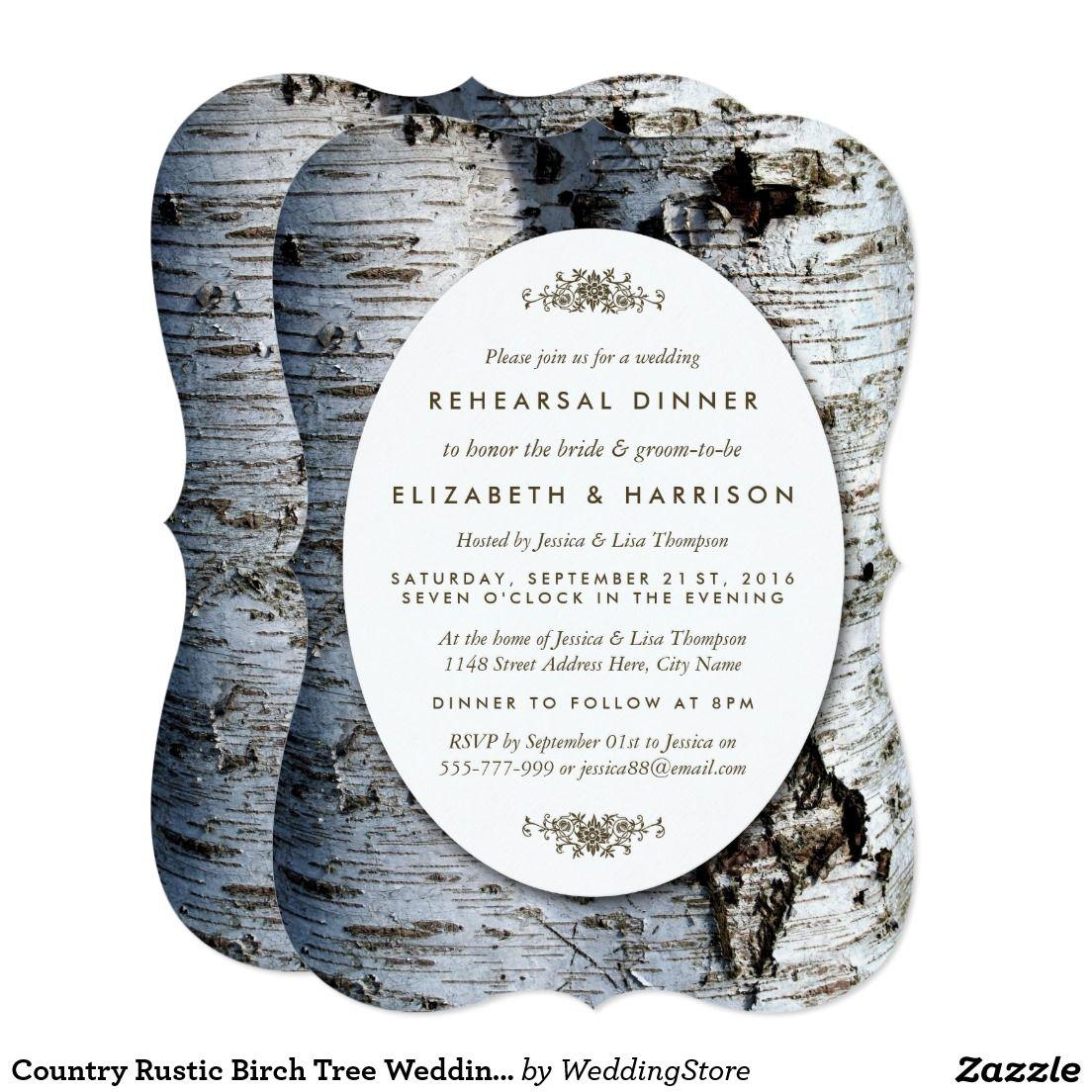 Country Rustic Birch Tree Wedding Rehearsal Dinner Card