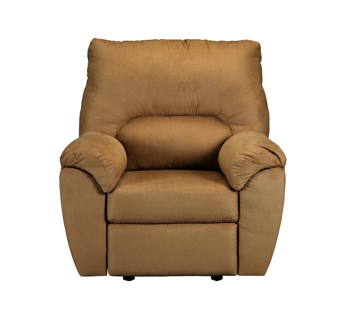 The exposed wooden feet and sleek sides on this comfy overstuffed recliner and the soft