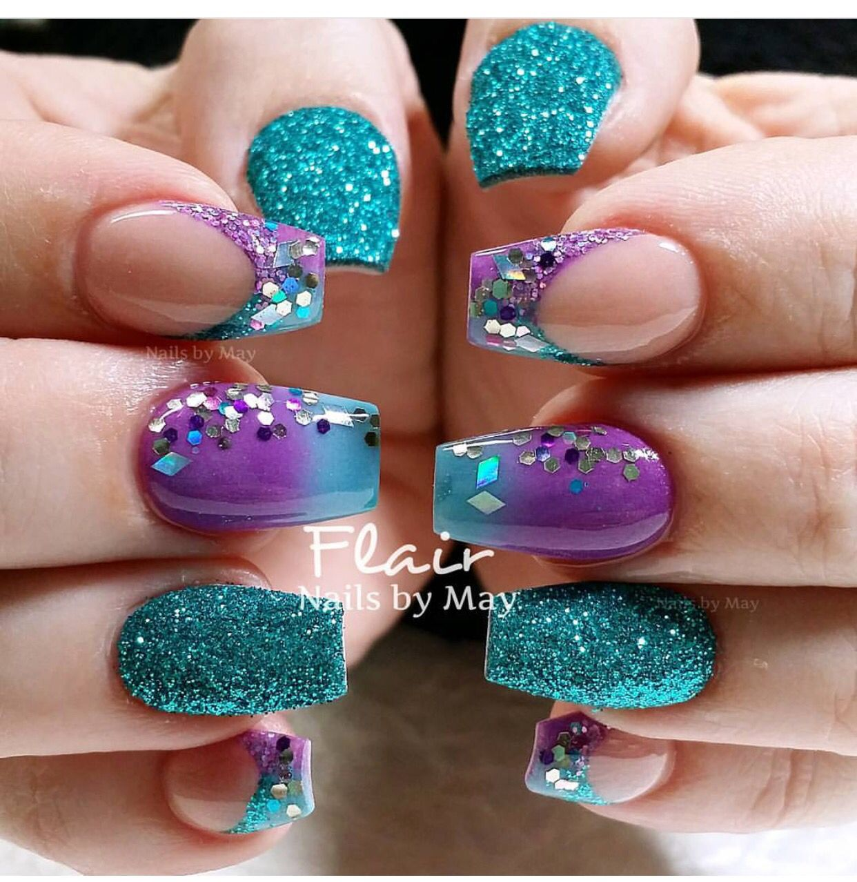 Teal And Purple Purple Nail Designs Teal Nails Purple Nails