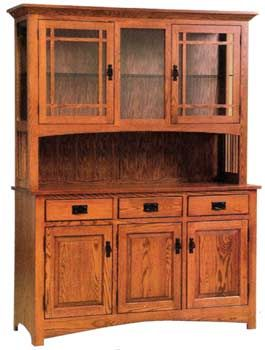 Item 165 deluxe mission style large china hutch home for Craftsman cabinet plans