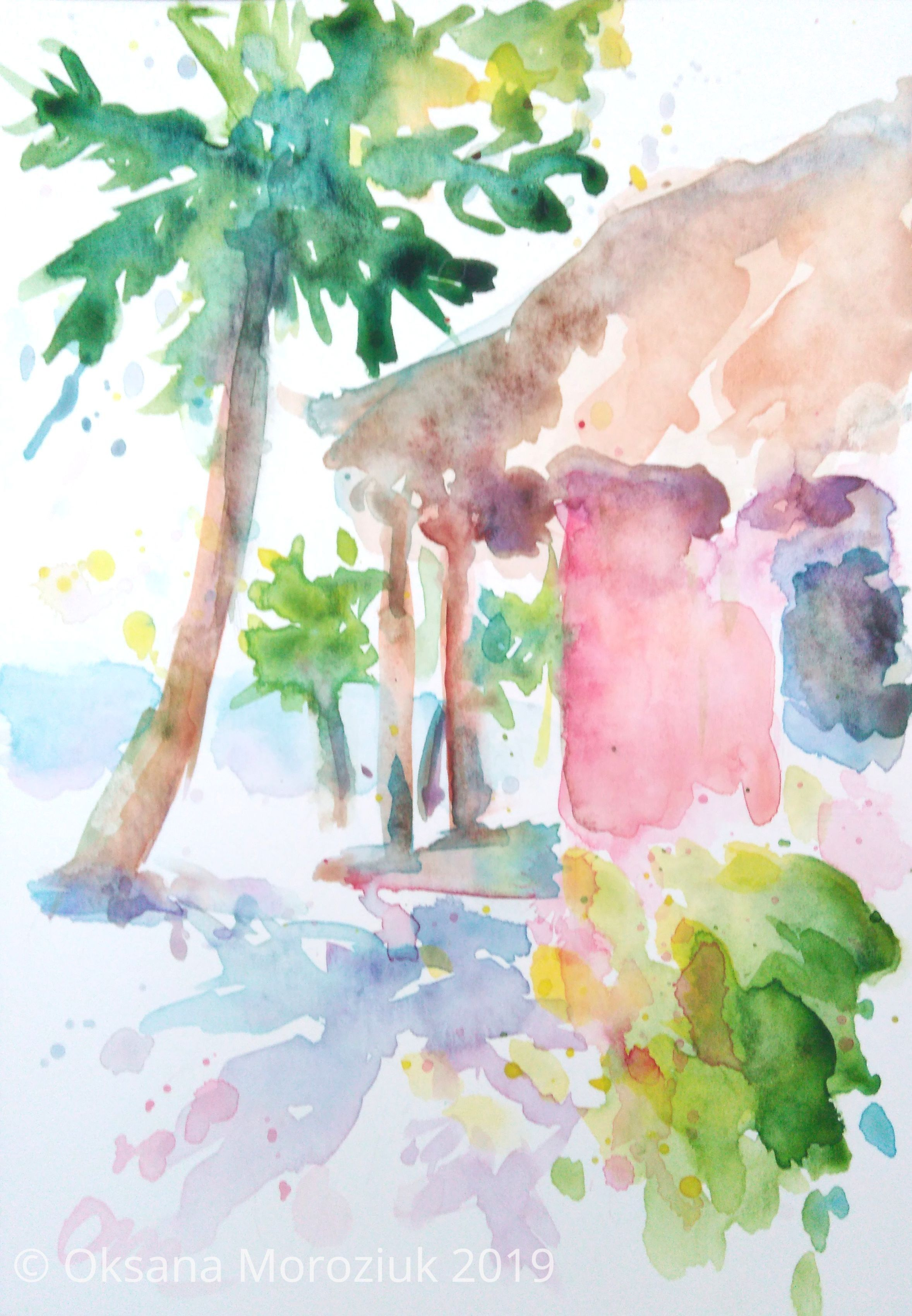 Hawaii Beach Watercolor Painting Original Small Art Tropical