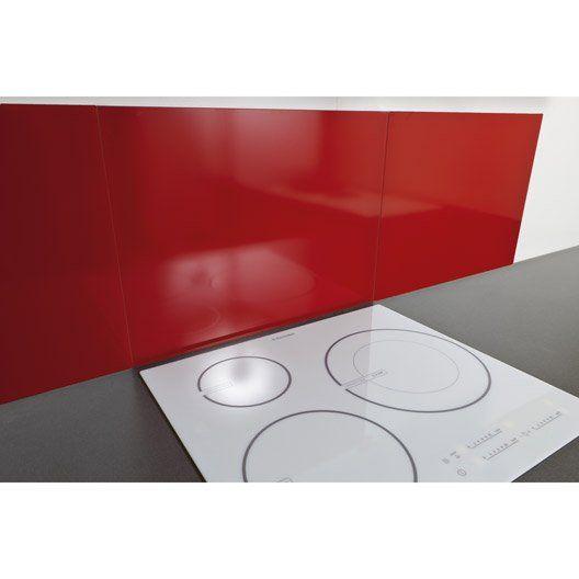 Fond De Hotte Verre Delinia Rouge Mat Délice L.60 X H.65 Cm, Ep.5