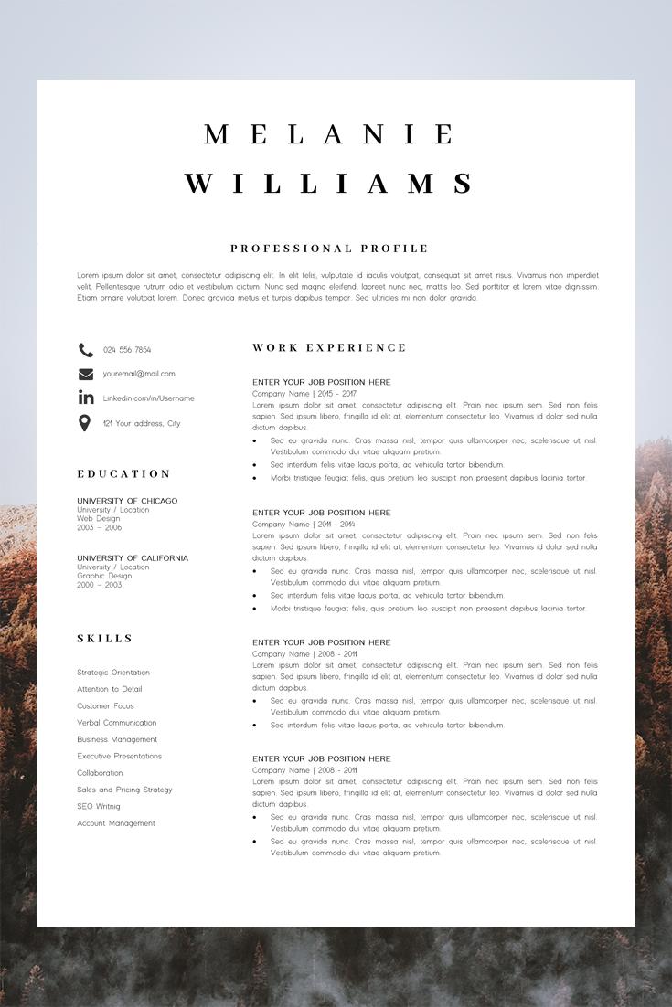 Resume Template Minimalist Cv Template Word 4 Page Modern Etsy Simple Resume Format Resume Template Cv Template