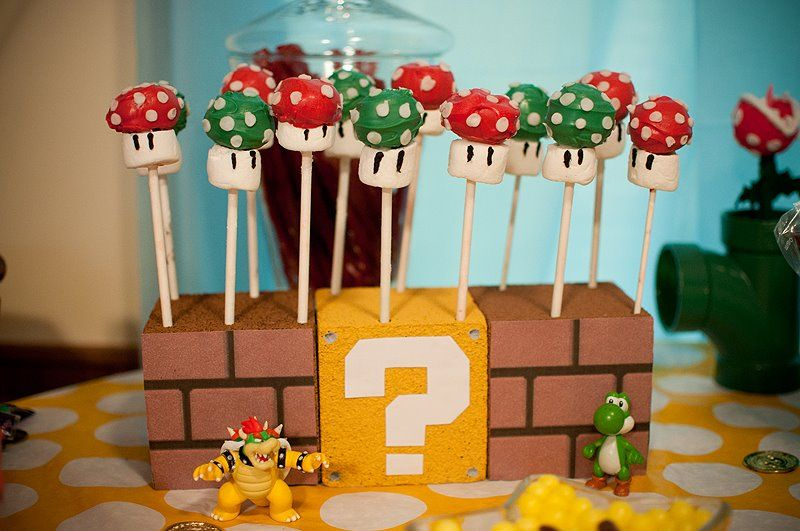 Mushroom cake pops for Mario Brothers themed birthday party