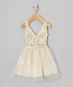 Sweet Chics Couture Cream Tulle Crocheted Dress - Toddler | zulily
