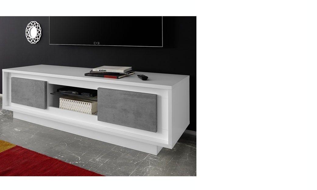 Meuble Tv Blanc Laque Mat Et Beton Design Maryland Meuble Tv Moderne Meuble Tv Blanc Laque Meuble Tele Design