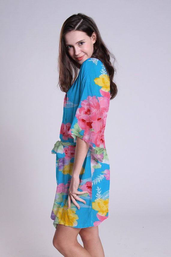 Blue bridesmaids robes floral cotton robe for by ForBride on Etsy