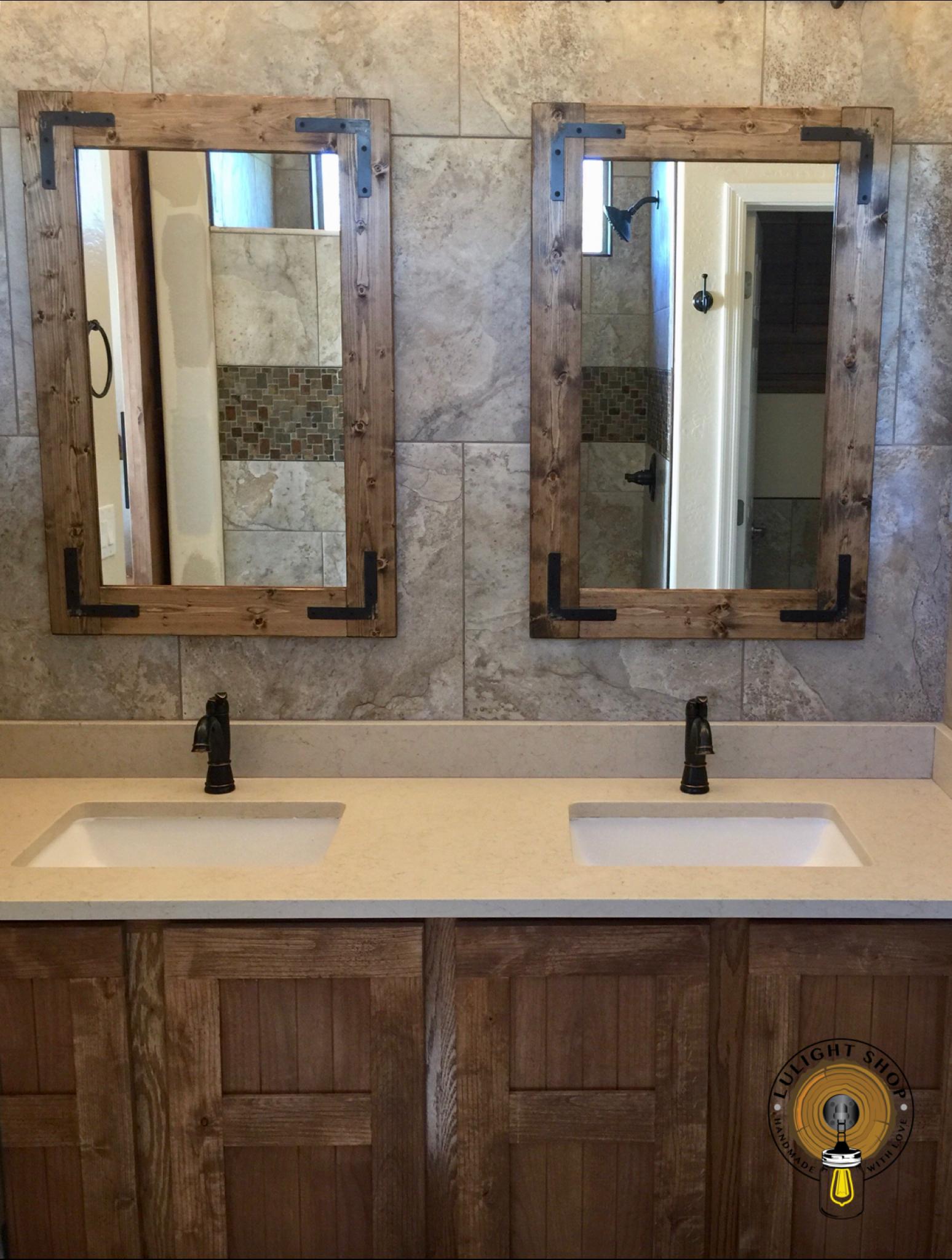 Rustic Mirror Framed Mirror Bathroom Mirrors Vanity Mirrors