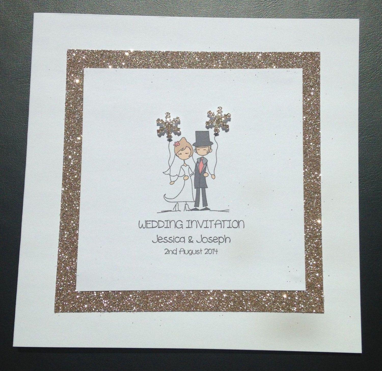 Handmade Personalised Glitter Snowflake Wedding Invitations - Bride ...
