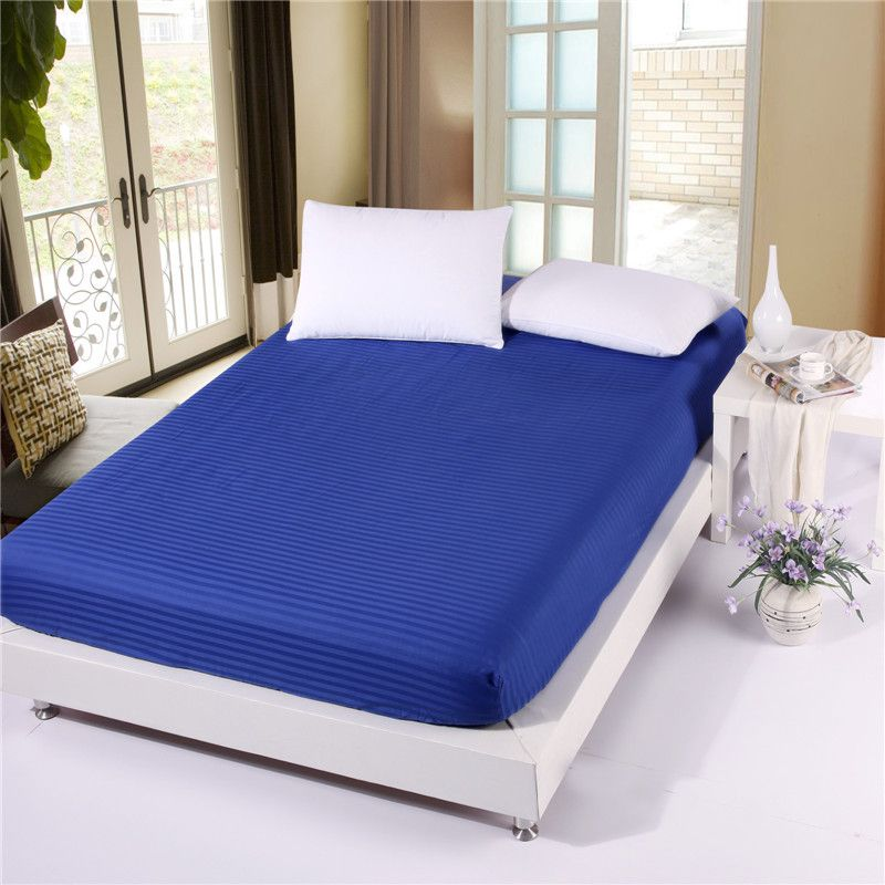 Solid Color Fitted Sheet Stripe Mattress Cover Four Corners With Elastic  Band Bed Sheet