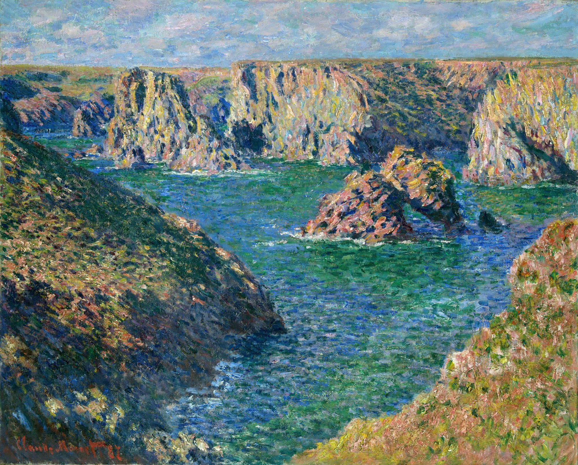 Claude monet 1840 1926 belle le en mer port donnant for Renoir maison classique