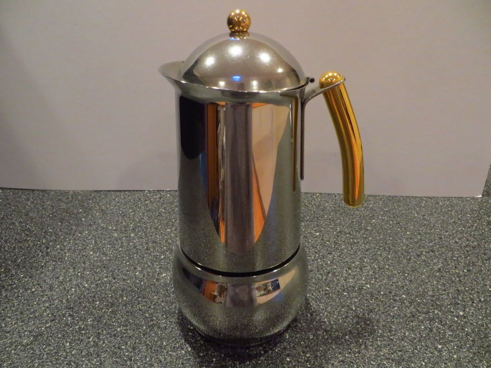 Bialetti Elegance Oro 6 Cup Espresso Coffee Maker Stainless Steel w/Gold Accents #Bialetti