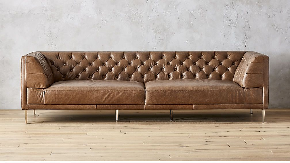 Savile Dark Saddle Brown Leather Tufted Extra Large Sofa Large Sofa Tufted Sofa Tufted Leather Couch