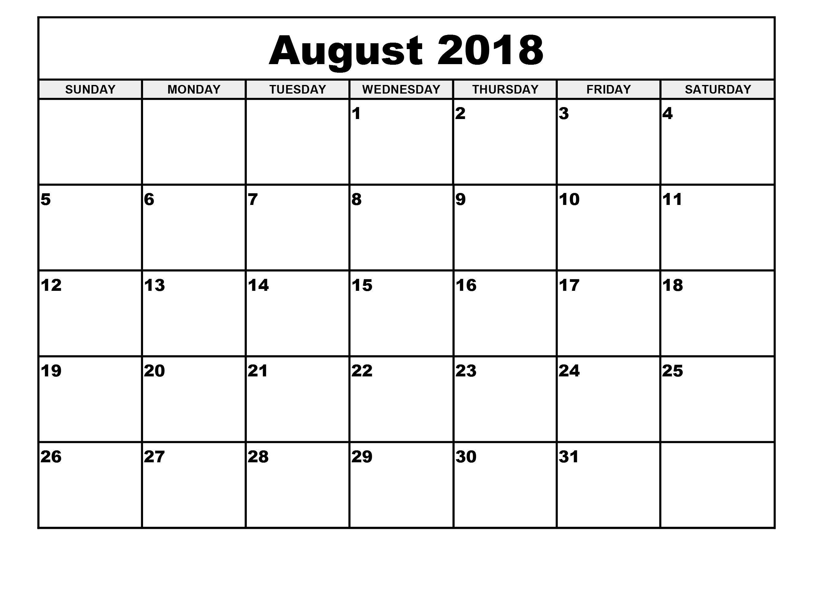 August 2018 Monthly Calendar Printable Template Calendar