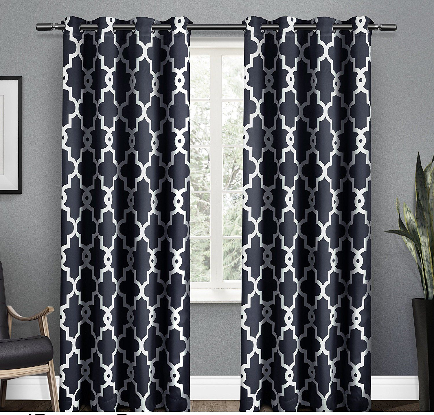 108 Inch Peacoat Blue White Moroccan Curtains Panel Pair Set