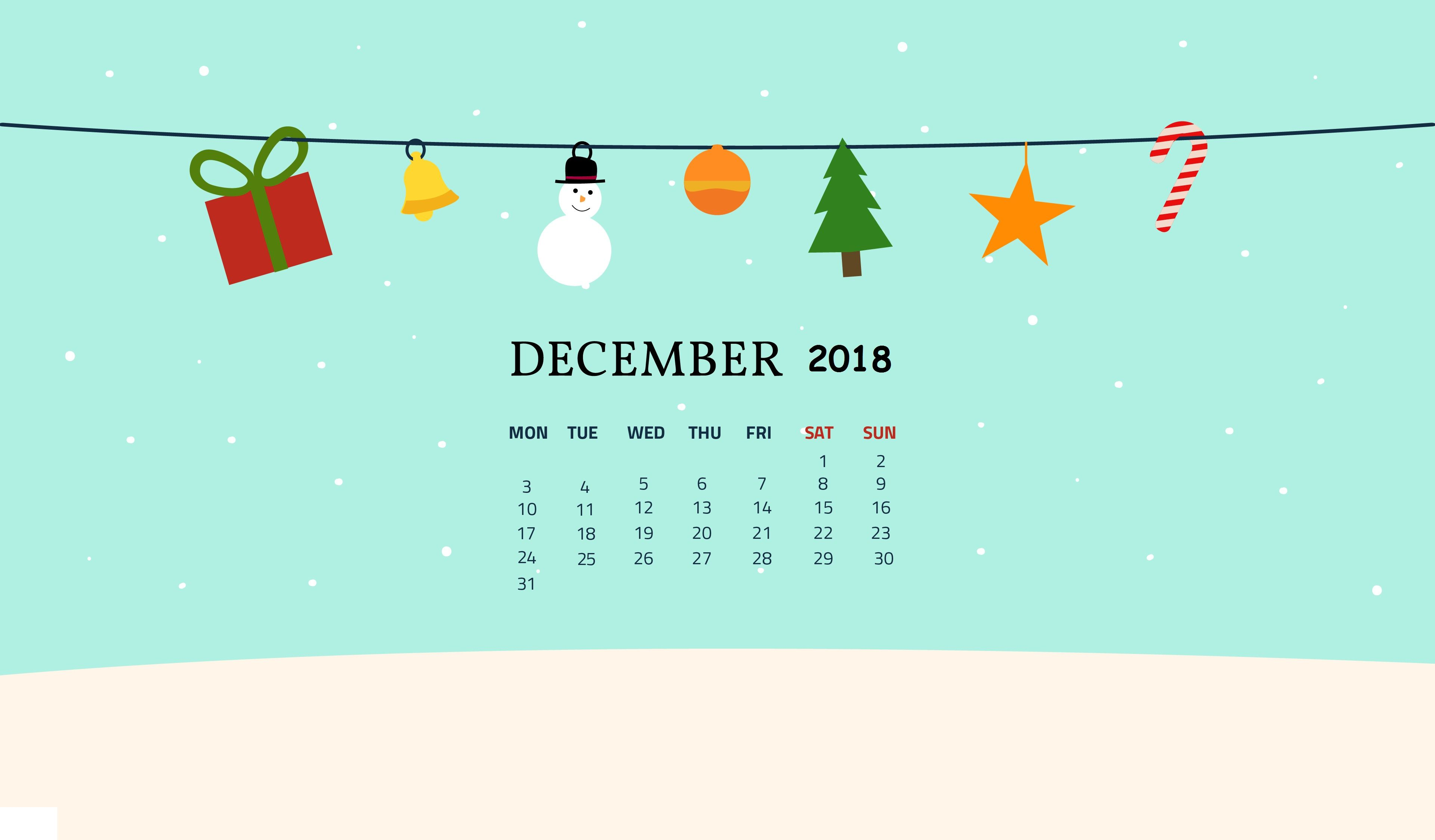 Free December 2018 Desktop Wallpaper Calendar wallpaper