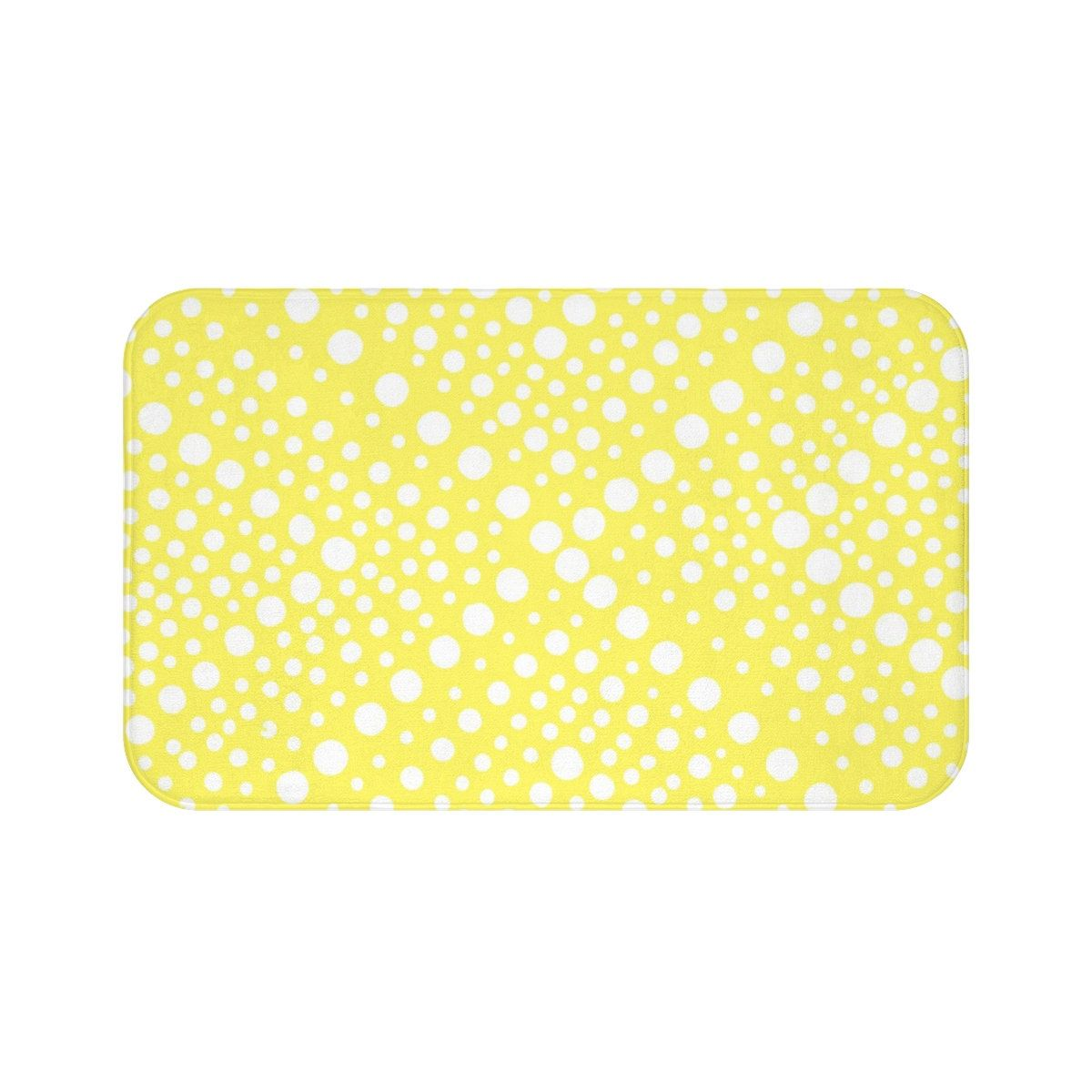 Yellow With White Squiggly Lines Bath Mat By Shelley Ylst Art