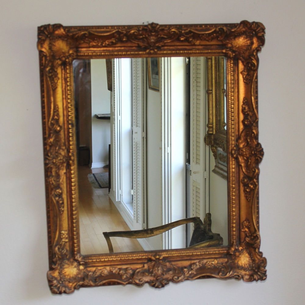 Antique Wall Mirrors vintage wall mirror with ornate gold foliate frame #baroque