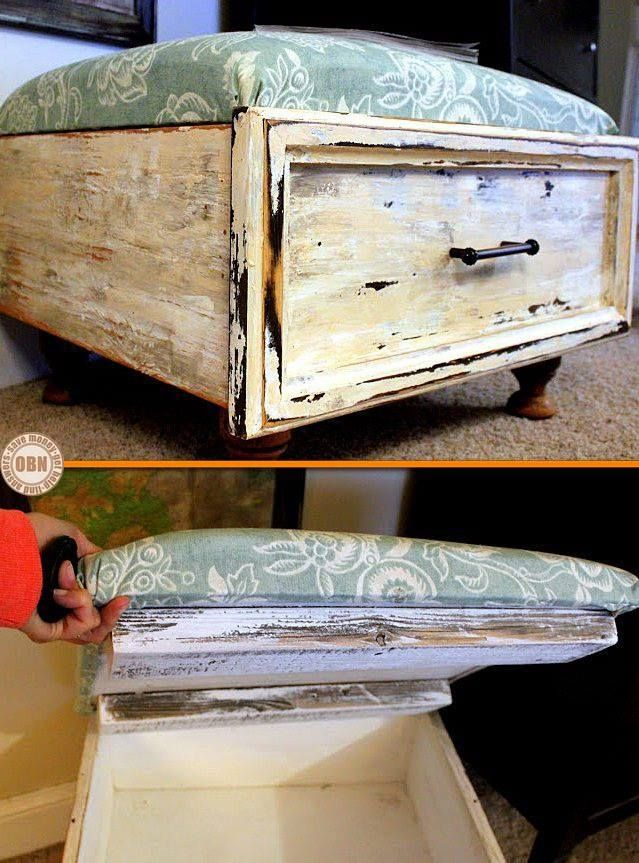 Give an old drawer a new life by turning it into an ottoman with storage! - Give An Old Drawer A New Life By Turning It Into An Ottoman With