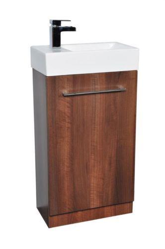 Left Hand Dark Walnut Compact 450mm Cloakroom Vanity Unit Basin Sink TAP | eBay