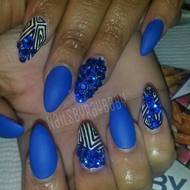 Matte Blue Stiletto Nails | What\'s Sweet to Simy? | Pinterest | Blue ...