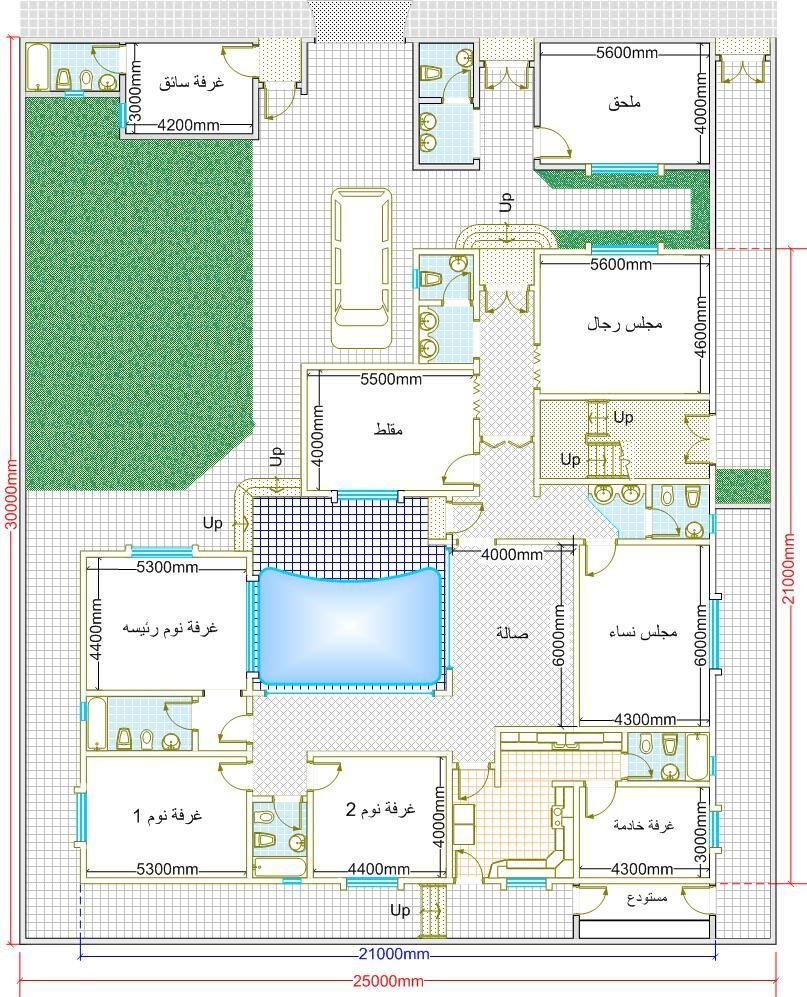 من يبحث عن مخططات دور ارضي كامل هنا مخططات رائعه منتديات شبكة المهندس My House Plans Family House Plans Duplex House Plans