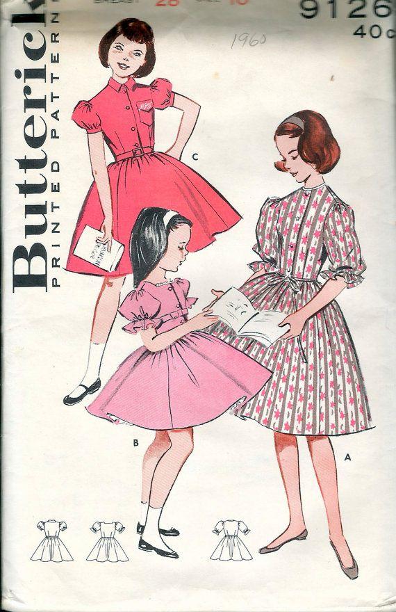 Vintage 1960 Butterick 9126 Girls\' Full Skirted Dress | Girls dress ...