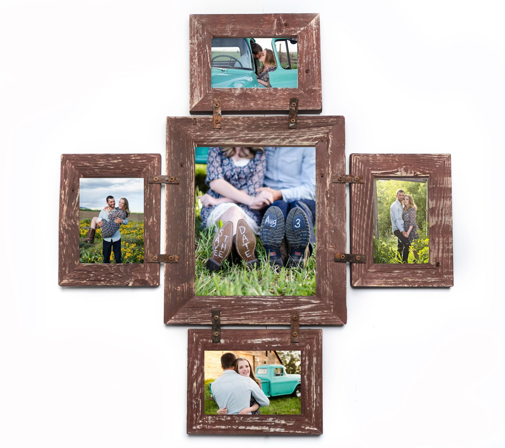 Rustic Photo Collage Frame 1 8x10 And 4 4x6 Multi Opening Unique Frame With Rusty Bracket Hardware Collage Frames Framed Photo Collage Wood Picture Frames
