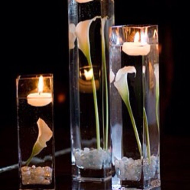 Floating Lily Centerpiece Ideas: Love The Calla Lillies And Candles Floating In The Water