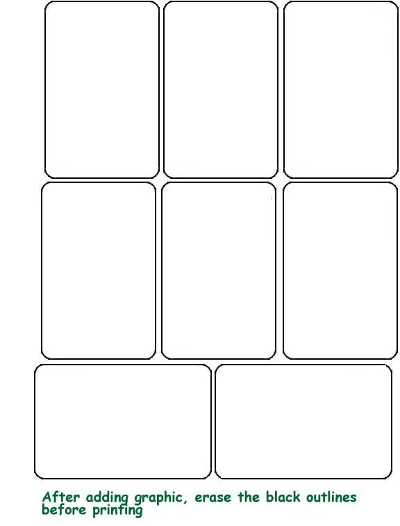 templete for playing cards Artist trading cards TAROT - blank bookmark template