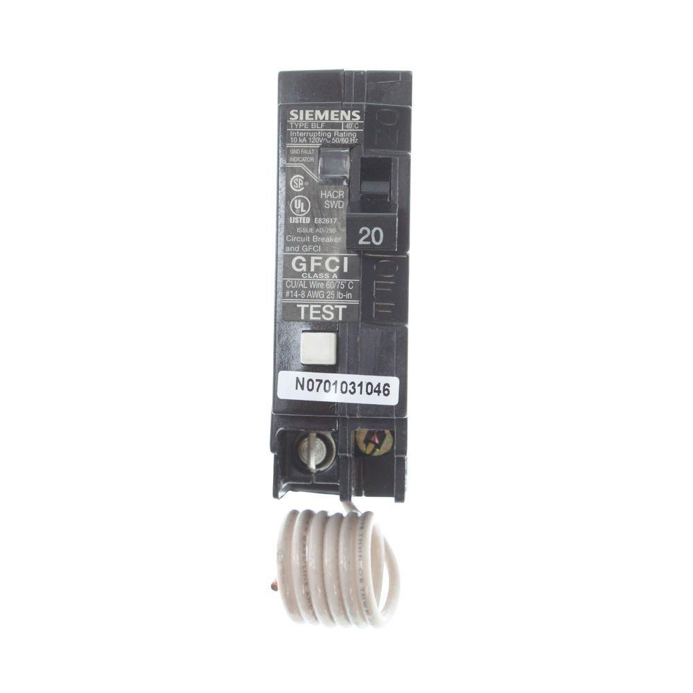 Siemens Bf120 Ground Fault Circuit Breaker 1 Pole 20 Amp 120 Volt How To Test Interrupter Gfci Ebay Sponsored
