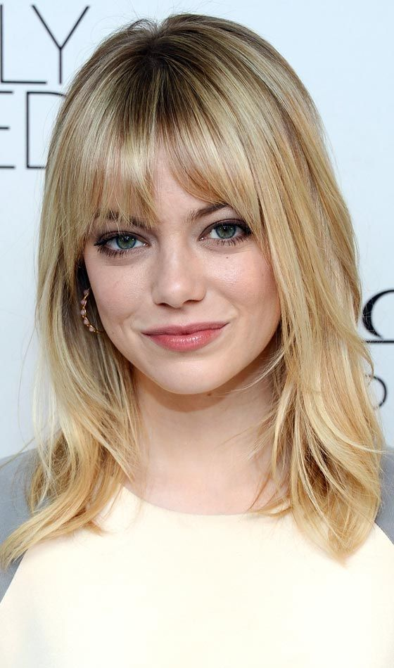 Shoulder Length Haircuts With Bangs For Round Faces | Hair Color ...