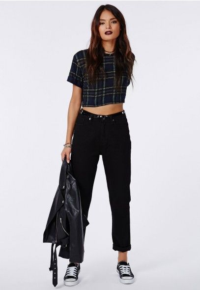 Blaire Tartan Cropped T-Shirt Navy - Tops - Missguided