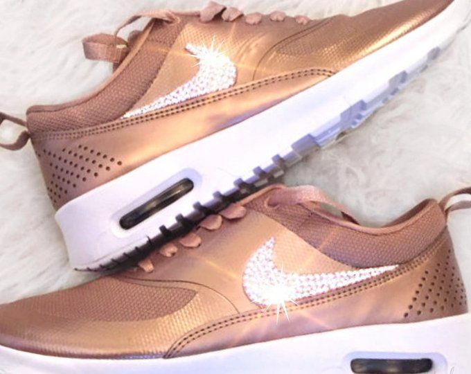 Sale - Nike Air Max Thea - Bling Nike shoes - Rose Gold-Nike Swarovski 81fc4e450