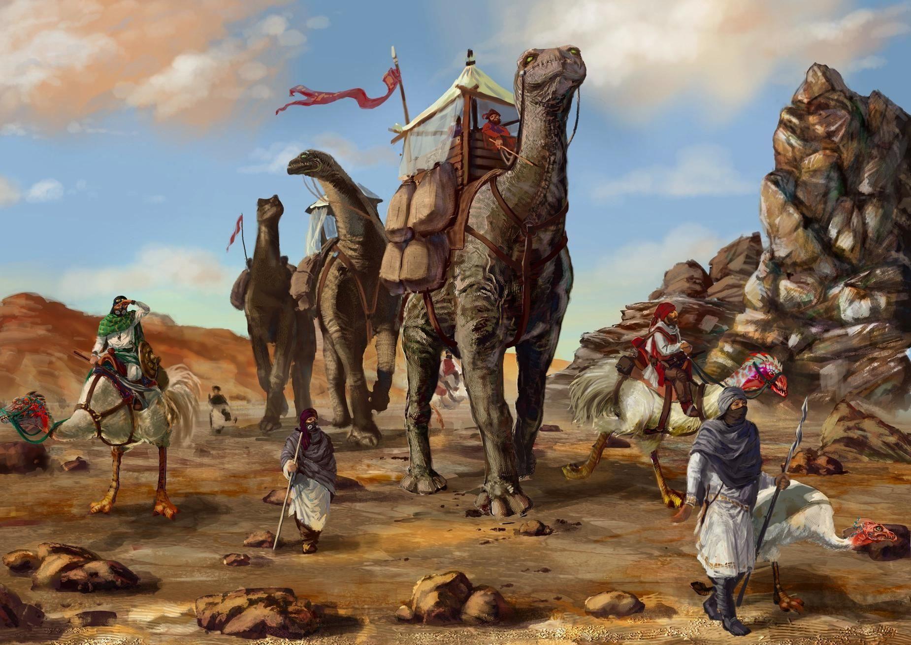 Desert Caravan Dinosaurs Bedouins 3243 Hd