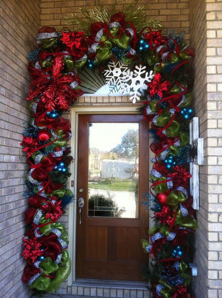Decora la puerta de tu casa con guirnalda de malla Navidad, Xmas