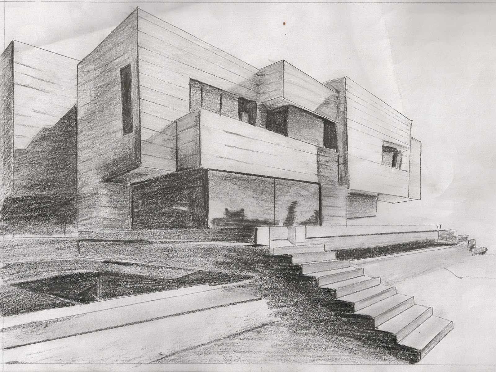 Shading is used well to highlight both shadows and for Architecture modern house design 2 point perspective view